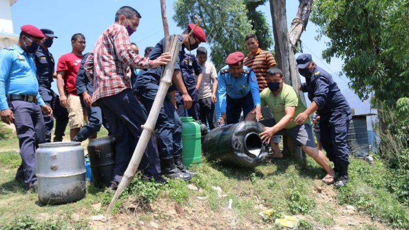 अवैध जाँड तथा घरेलु मदिरा नष्ट