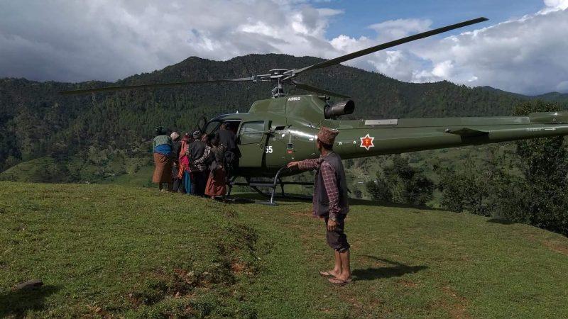 सुत्केरी ब्यथा लागेको चार दिन पछि गर्भवतिको हेलिकोप्टरबाट उद्धार