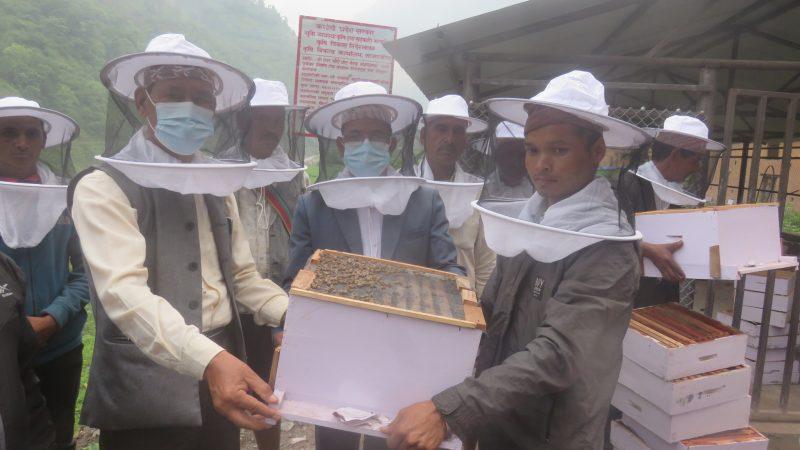 किसानलाई मौरी गोला र घार वितरण